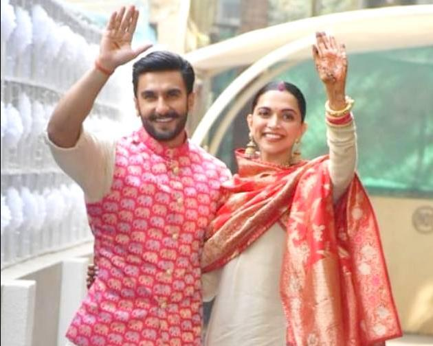 Newlyweds Deepika and Ranveer arrive in Mumbai