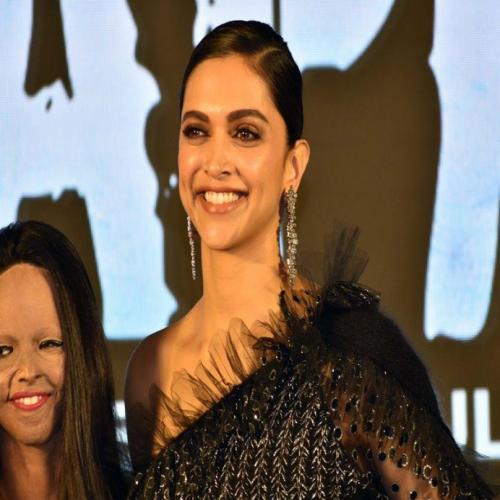"Deepika and Acid Attack survivor Laxmi during Promotion of ""Chhapaak"""