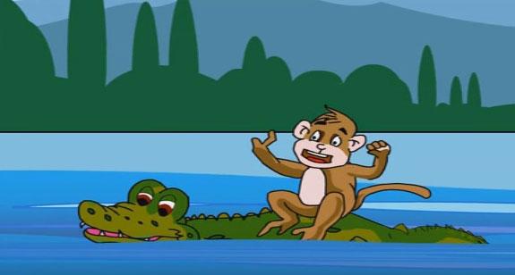monkey and crocodile