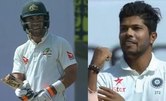 Glenn Maxwel , Umesh Yadav , India austrlia third test , virat kohli , team india , Maxwel , bat was broken , ഇന്ത്യ ഓസ്ട്രേലിയ മൂന്നാം ടെസ്റ്റ് , ഇന്ത്യ , ഉമേഷ് യാധവ് , ഗ്ലെന് മാക്സ്വെല് , ക്രിക്കറ്റ്